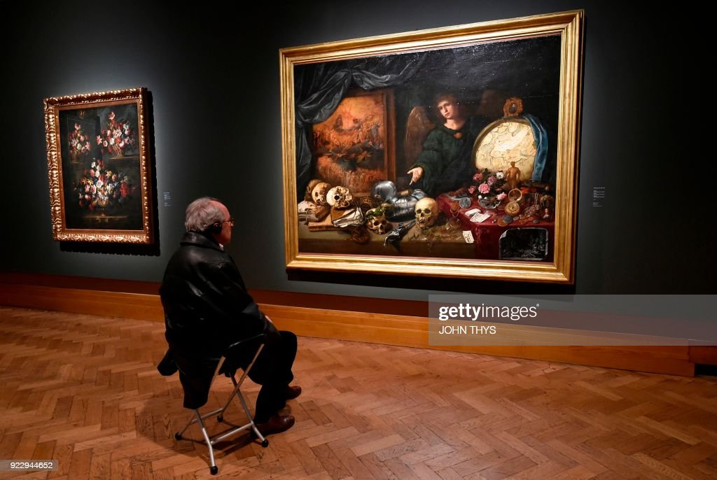 A Visitor Looks At The Painting U0027Allegory Of Vanityu0027 (1632 1636)