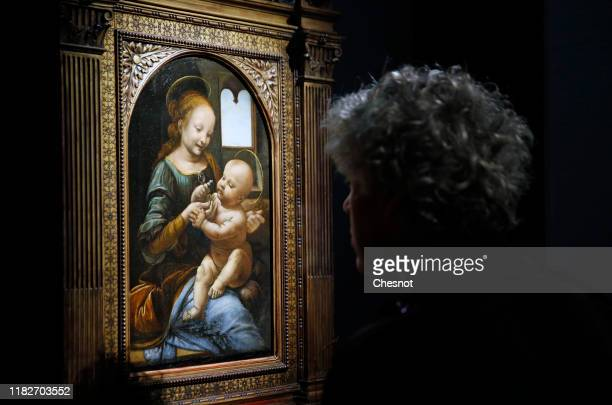Visitor looks at the painting entitled ''The Virgin and the child aka Benois Madonna' by the Italian Renaissance artist, Leonardo da Vinci, during a...