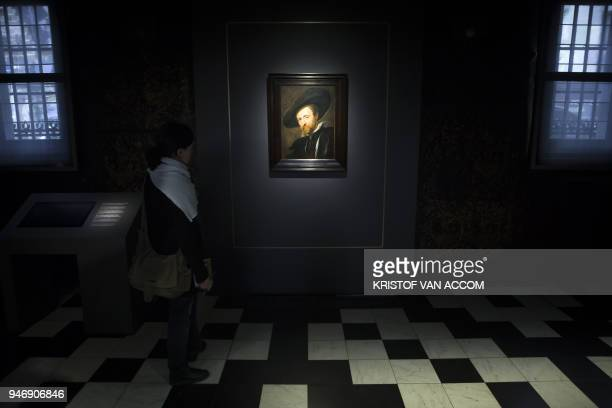 A visitor looks at the selfportrait of Flemish painter Rubens during the press presentation at the Ruben House in Antwerp after the painting was...
