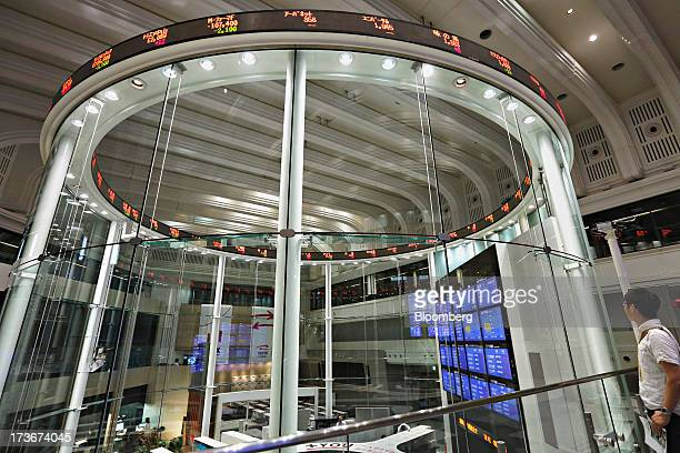 A visitor looks at the trading floor of Japan Exchange Group Inc's Tokyo Stock Exchange in Tokyo Japan on Tuesday July 16 2013 The Tokyo Stock...