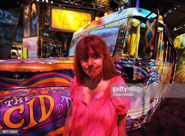 STORIES 'USMUSICSOCIETYHISTORYWOODSTOCK' Visitor Michele Dean stands near 'The Bus' exhibit in the Woodstock Music and Arts Fair museum at Bethel...
