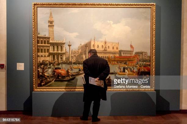 Visitor observes at the oil on canvas painting 'The Bucintoro retuning to the Molo on the Ascension Day' by 18th century Venetian master Giovanni...