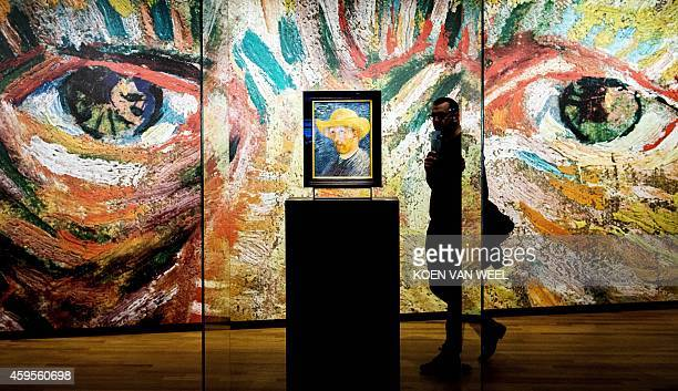 A visitor passes by a 'Self Portrait with Straw Hat' by Vincent van Gogh at the Van Gogh museum in Amsterdam on November 25 2014 The redesigned...