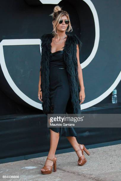 A visitor poses during Sao Paulo Fashion Week N43 SPFW Fall/Winter 2017 on March 16 2017 in Sao Paulo Brazil
