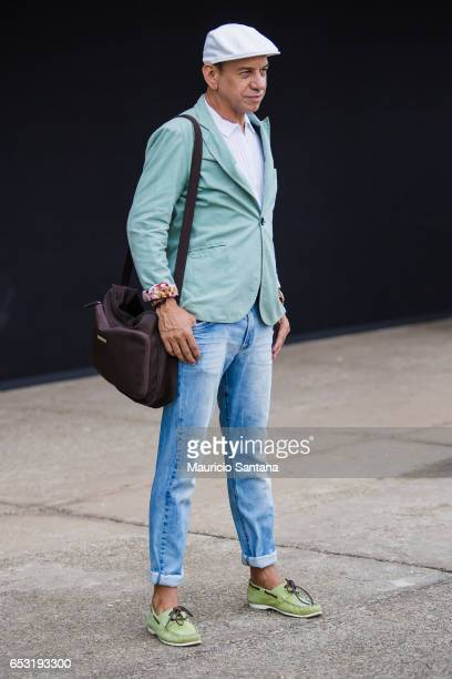A visitor poses during Sao Paulo Fashion Week N43 SPFW Summer 2017 on March 13 2017 in Sao Paulo Brazil