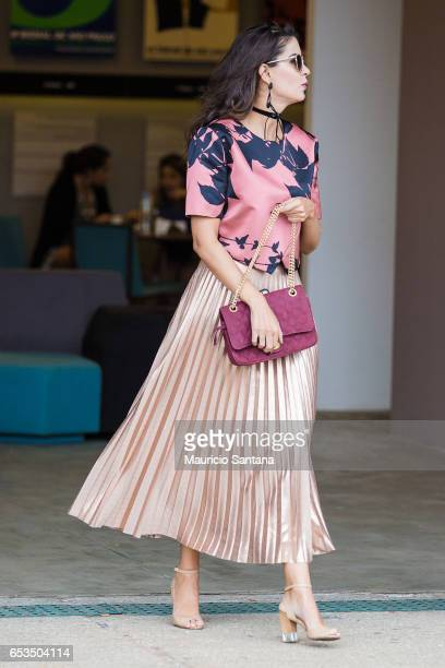 A visitor poses during Sao Paulo Fashion Week N43 SPFW Summer 2017 on March 14 2017 in Sao Paulo Brazil