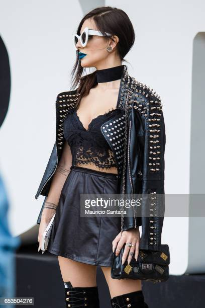 Visitor poses during Sao Paulo Fashion Week N43 SPFW Summer 2017 on March 14, 2017 in Sao Paulo, Brazil.