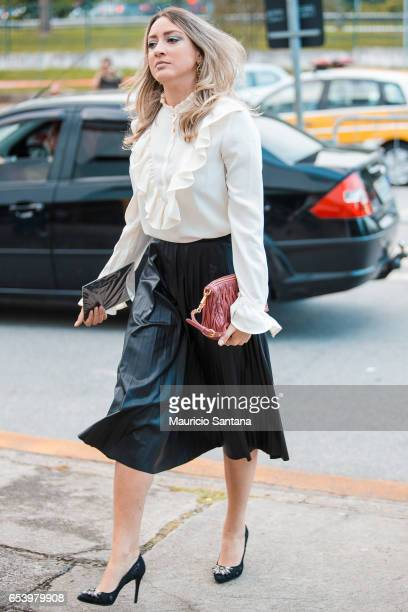 A visitor poses during Sao Paulo Fashion Week N43 SPFW Summer 2017 on March 15 2017 in Sao Paulo Brazil