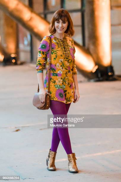 A visitor poses during Sao Paulo Fashion Week N45 SPFW 2018 at Brazilian Cultures Engineer Armando de Arruda Pereira Pavilion on April 23 2018 in Sao...
