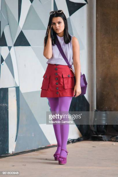 A visitor poses during Sao Paulo Fashion Week N45 SPFW Summer 2019 at Brazilian Cultures Engineer Armando de Arruda Pereira Pavilion on April 26 2018...