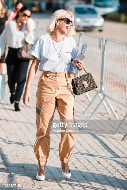 A visitor poses during Sao Paulo Fashion Week N46 SPFW Winter 2019 at ARCA on October 22 2018 in Sao Paulo Brazil