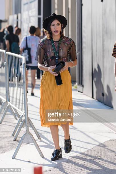 Visitor poses during Sao Paulo Fashion Week N47 SPFW Summer 2020 at ARCA on April 27, 2019 in Sao Paulo, Brazil.