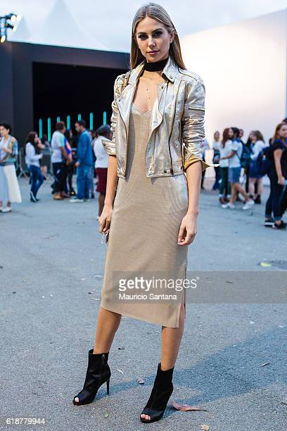 A visitor poses during Sao Paulo Fashion Week Trans 42 SPFW Fall / Winter 2017 on October 27 2016 in Sao Paulo Brazil