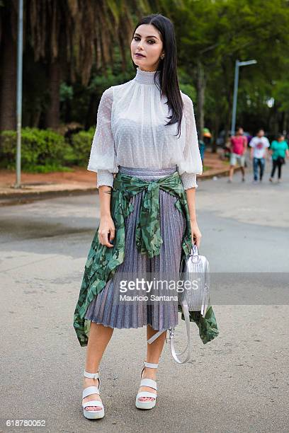 Visitor poses during Sao Paulo Fashion Week Trans 42 SPFW Fall / Winter 2017 on October 27, 2016 in Sao Paulo, Brazil.