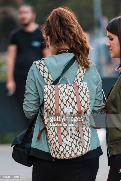 A visitor poses fashion detail backpack during Sao Paulo Fashion Week N44 SPFW Winter 2018 at Ibirapuera's Bienal Pavilion on August 29 2017 in Sao...