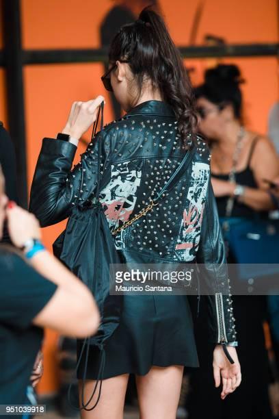 A visitor poses fashion detail jacket during Sao Paulo Fashion Week N45 SPFW Summer 2019 at Brazilian Cultures Engineer Armando de Arruda Pereira...