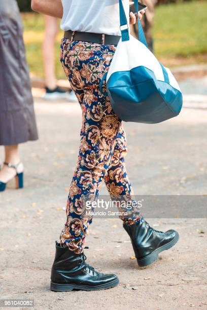 A visitor poses fashion detail pants during Sao Paulo Fashion Week N45 SPFW Summer 2019 at Brazilian Cultures Engineer Armando de Arruda Pereira...