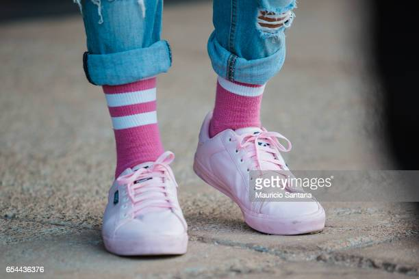A visitor poses fashion detail shoe during Sao Paulo Fashion Week N43 SPFW Fall/Winter 2017 on March 16 2017 in Sao Paulo Brazil