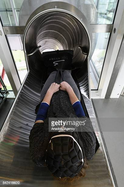 Visitor prepares to go down at the Slide in the ArcelorMittal Orbit in London United Kingdom on June 23 2016
