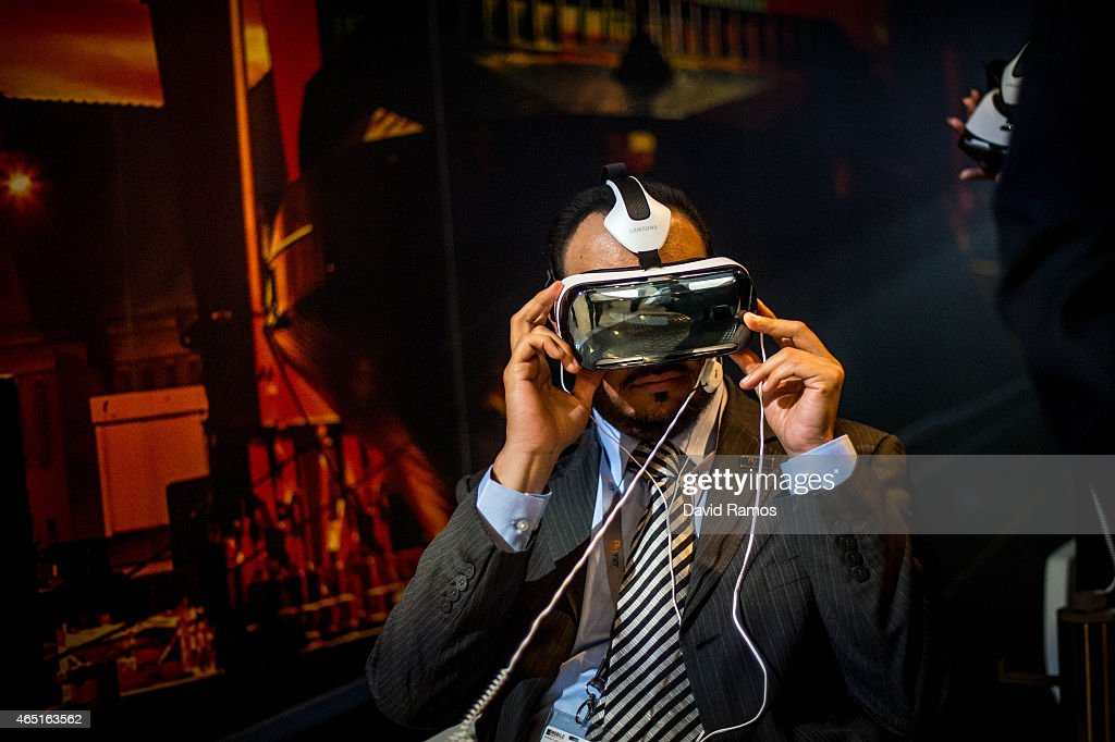 A visitor samples a Samsung Gear VR during the second day of the Mobile World Congress 2015 at the Fira Gran Via complex on March 3, 2015 in Barcelona, Spain. The annual Mobile World Congress hosts some of the wold's largest communication companies, with many unveiling their latest phones and wearables gadgets.