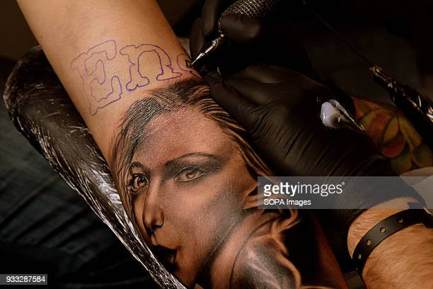 A visitor seen having a tattoo session during the 2nd tattoo artists Convention the Only Tattoo Barcelona The Only Tattoo Barcelona 2018 is being...