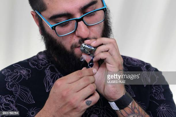 A visitor smokes during the first Cannabis Cup where selfcultivation and the quality of the herb are encouraged in Tlajomulco de Zuniga Jalisco State...