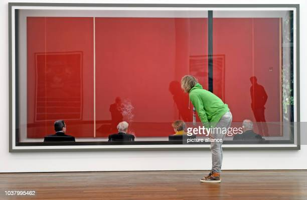 A visitor stands in front of his work 'Rueckblick' at Museum Frieder Burda in BadenBaden Germany 02 October 2015 The art work is part of the...