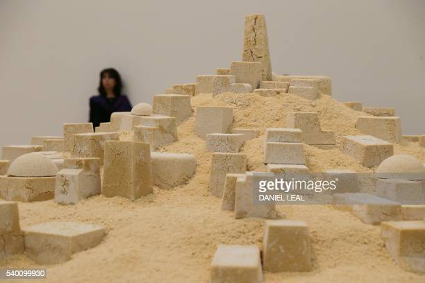 A visitor stands in front of the artwork 'Untitled' by Kader Attia an Algerian city made out of crumbling couscous in the new Switch House extension...