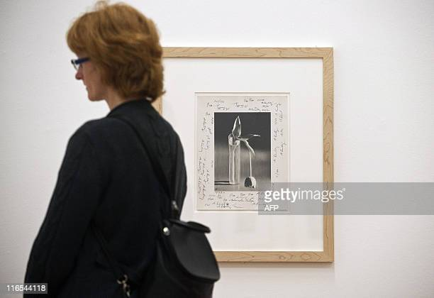 A visitor stands next to Hungarianborn US photographer Andre Kertesz' Melancholic Tulip 1939 at the Kertesz retrospective at Berlin's...