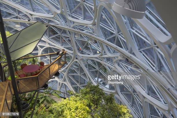 A visitor stands on the suspension bridge inside the Amazoncom Inc Spheres in Seattle Washington US on Tuesday Jan 23 2018 The online retailer is...