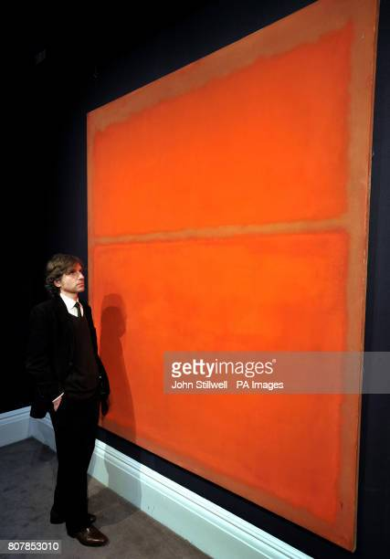 A visitor studies Mark Rothko's untitled canvas which is estimated value of $18/25 million at the Sotheby's showroom in New Bond Street central...