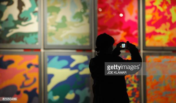 A visitor takes pictures backgrounded by Warhol's screen print collection Camouflage at Andy Warhol's museum in eastern Slovak town of Medzilaborce...