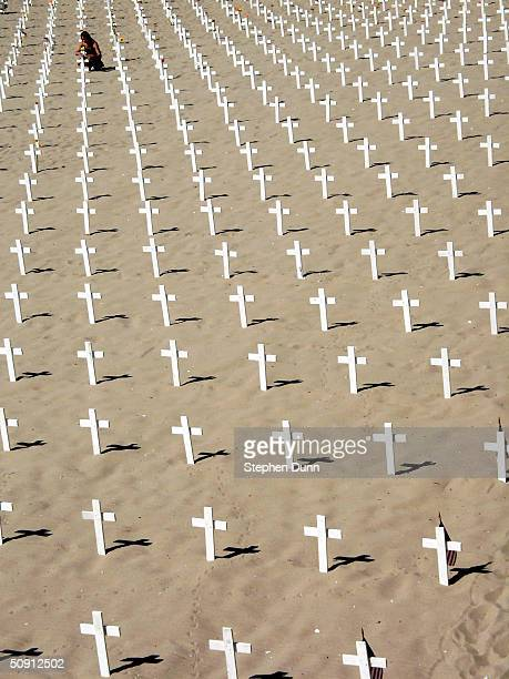 A visitor tends to crosses on a beach representing each of the US war dead in Iraq by the Santa Monica Pier in a demonstration organized by the Los...