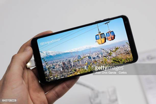 A visitor testing the new LG G6 during the LG G6 launch during the Mobile World Congress on February 26 2017 in Barcelona Spain