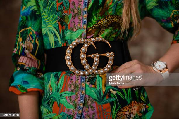 A visitor to Fashion Week poses at MercedesBenz Fashion Week Resort 19 Collections at Carriageworks on May 14 2018 in Sydney Australia