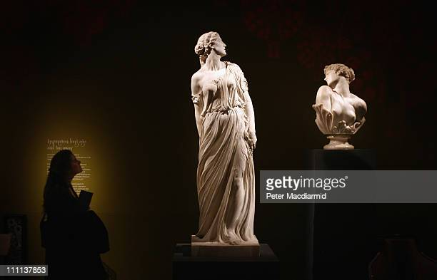 Visitor to ''The Cult of Beauty: The Aesthetic Movement 1860-1900'' exhibition at The V&A Museum looks at sculptures by Thornycroft and Watts on...