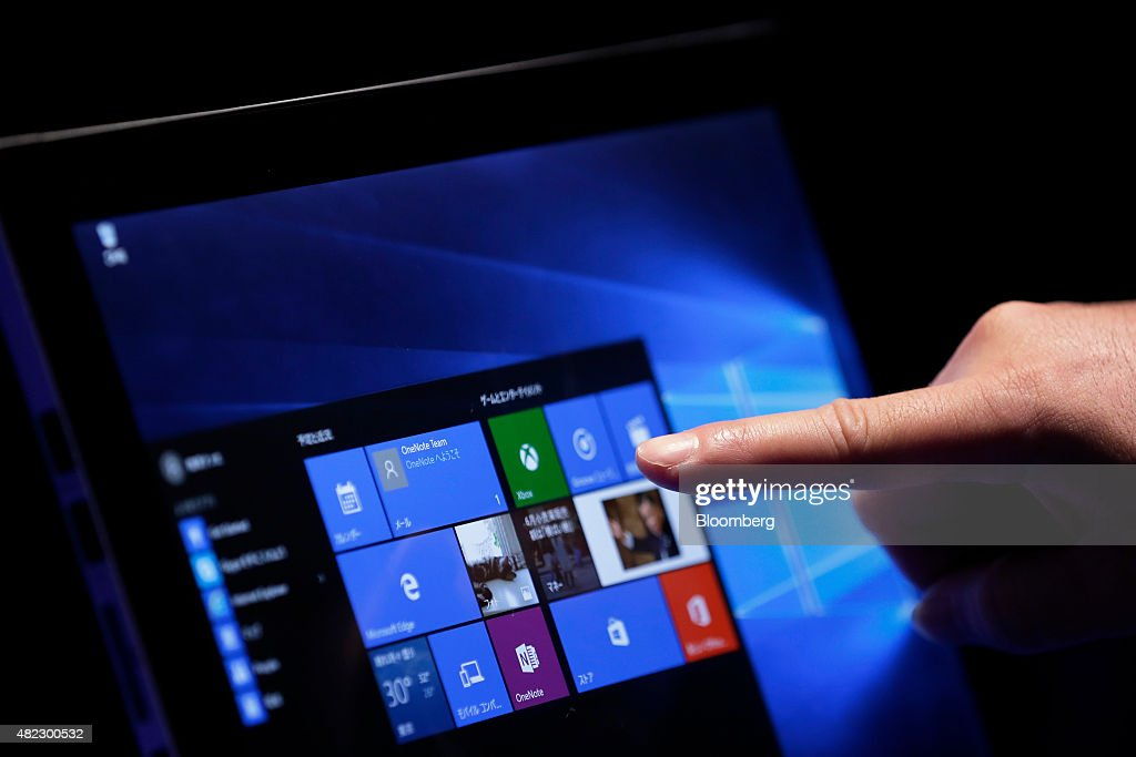 Microsoft Corp. Launches Windows 10 In Japan : News Photo
