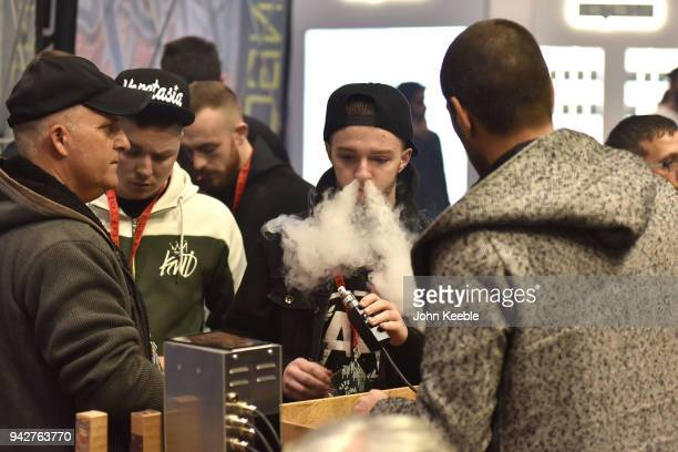 A visitor trys out flavoured eliquids at the Vape Jam UK 4 at ExCel on April 6 2018 in London England Vape Jam UK the premier Electronic Cigarette...