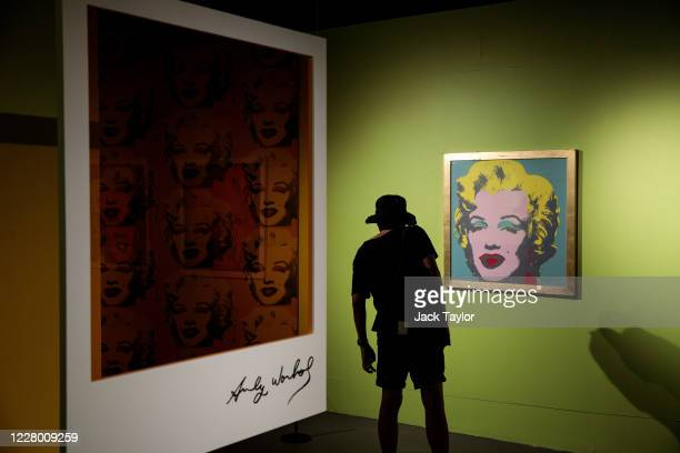 A visitor views a screen print of Marilyn Monroe by Andy Warhol entitled 'Marilyn' at the 'Andy Warhol Pop Art' exhibition at the RCB Galleria on...
