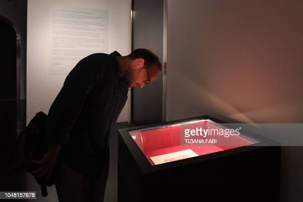 """Visitor views a """"sketch of marble blocks for the tomb of Pope Julius II"""" by Italian sculptor, painter, architect and poet of the High Renaissance,..."""