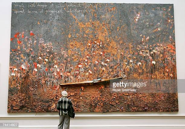 A visitor views artwork by Anselm Kiefer Hon RA titled 'Aperiat Terra et Germinet Salvatorem' at The Royal Academy of Arts 239th Summer Exhibition at...