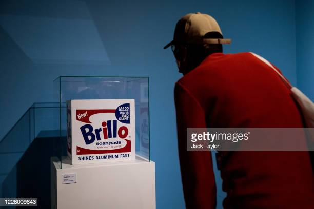 A visitor views 'Brillo Box' by Andy Warhol at the 'Andy Warhol Pop Art' exhibition at the RCB Galleria on August 12 2020 in Bangkok Thailand The...
