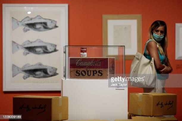 A visitor views 'Campbell's Soup Box' by Andy Warhol at the 'Andy Warhol Pop Art' exhibition at the RCB Galleria on August 12 2020 in Bangkok...