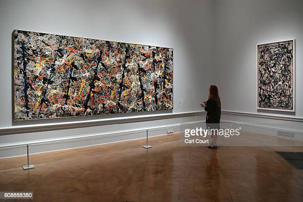 A visitor views paintings by US artist Jackson Pollock entitled 'Blue Poles' and 'Enchanted Forest' at the Royal Academy of Arts on September 20 2016...