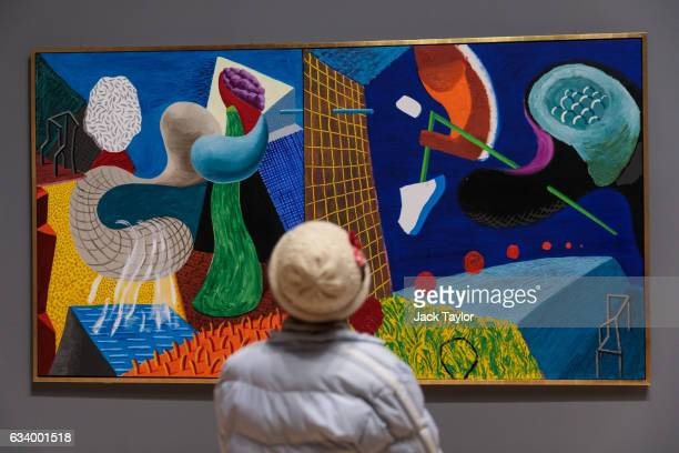 A visitor views 'The Other Side' 199093 by David Hockney during a press preview for the British artists' retrospective at Tate Britain on February 6...