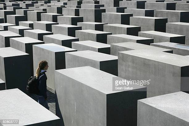 A visitor walks among the 2711 stellae at the Memorial to the Murdered Jews of Europe on the first day of its opening to the public May 12 2005 in...