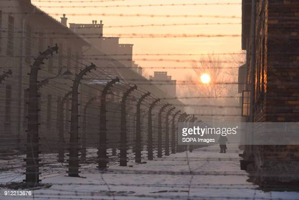 A visitor walks around AuschwitzBirkenau in Oswiecim January 2018 will be the 73rd anniversary of the liberation of the concentration camps survivors...