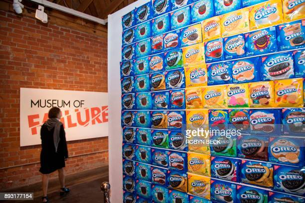 A visitor walks past a display of various Oreo cookie incarnations at The Museum of Failure in Los Angeles on December 7 2017 The Museum of Failure...
