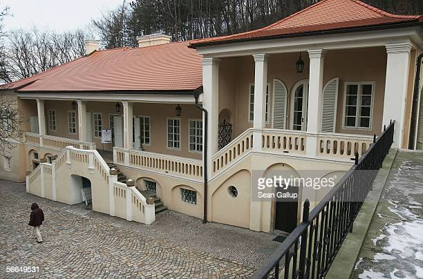 A visitor walks past Bertramka Villa where Austrian composer Wolfgang Amadeus Mozart stayed and composed on several occasions between 1787 and 1791...