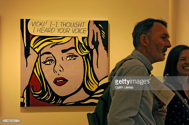 Vicki of roy lichtenstein getty images a visitor walks past the painting vicki of roy lichtenstein during the opening for the press voltagebd Images